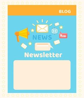 Página de blog de mídia social e sistema de email marketing