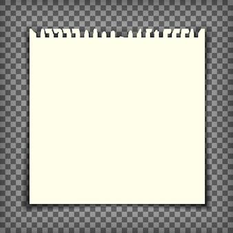 Página de caderno vazia com borda rasgada