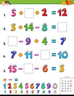 Página de cálculo matemático para crianças