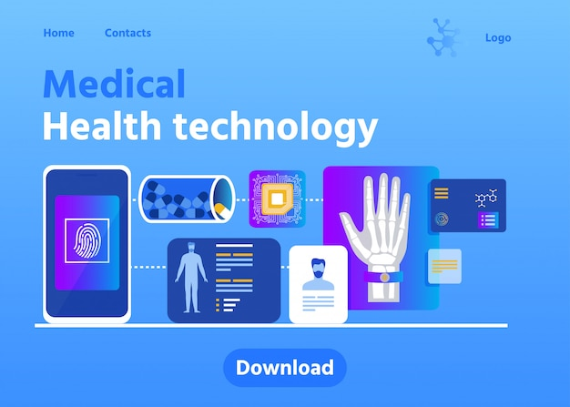 Página de carregamento publicidade médica tecnologia de saúde