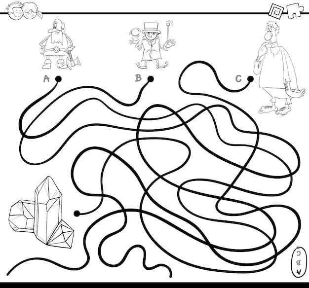 Página de coloração do jogo labirinto