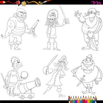 Página de colorir animação de piratas de fantasia