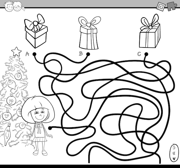 Página de colorir do caminho para o labirinto