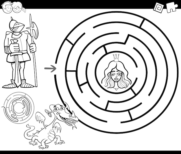 Página de colorir do labirinto de conto de fadas