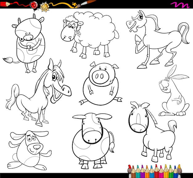 Página de colorir para animais de fazenda