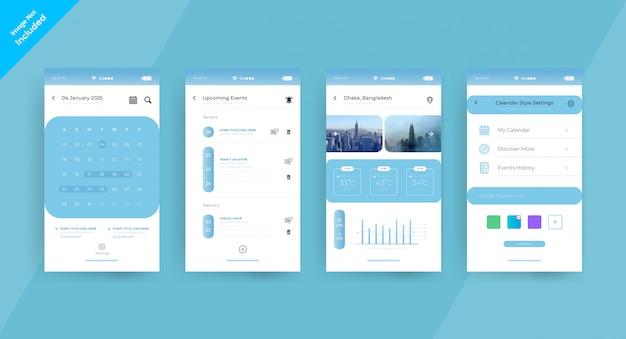 Página de conceito de ui ux do aplicativo agenda
