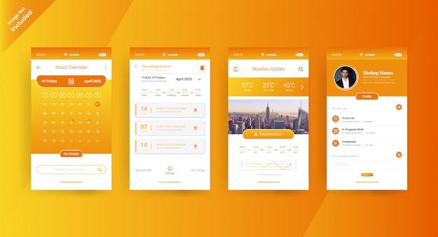 Página de conceito de ui ux do aplicativo de calendário amarelo
