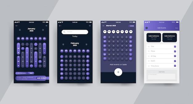Página de conceito de ui ux do aplicativo de calendário escuro