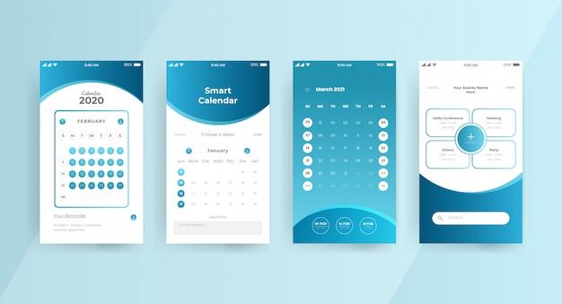 Página de conceito de ui ux do aplicativo de calendário gradiente