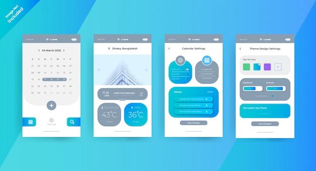 Página de conceito de ui ux do aplicativo de calendário simples