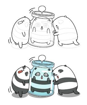 Página de desenho animado de pandas engraçados para crianças