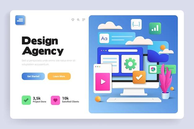 Página de destino 3d da agência de design