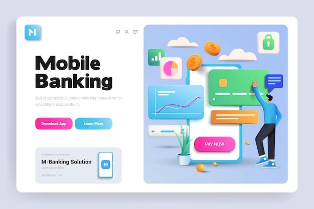 Página de destino 3d do mobile banking