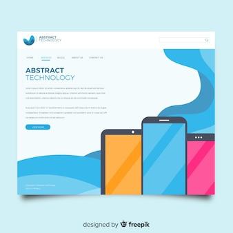Página de destino abstrata com dispositivos de tecnologia