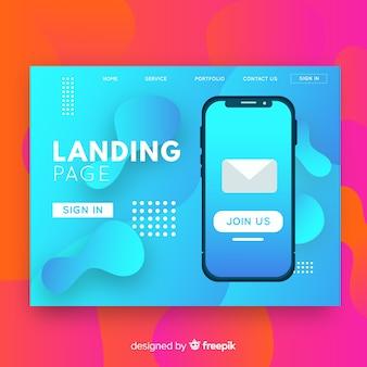 Página de destino abstrata com smartphone