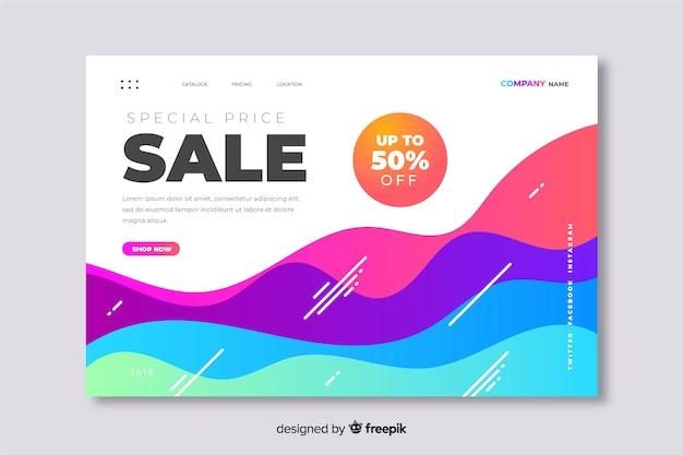 Página de destino abstrata de preço de venda especial