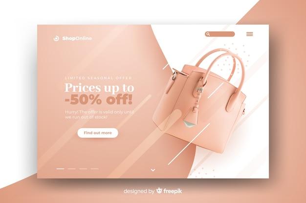 Página de destino abstrata de vendas com foto