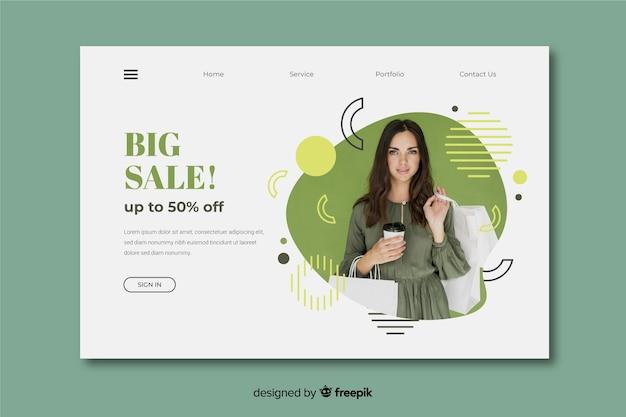 Página de destino abstrata de vendas com imagem
