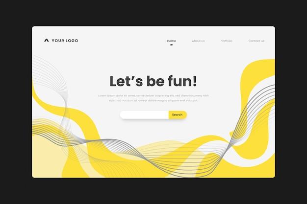 Página de destino abstrata em amarelo e cinza