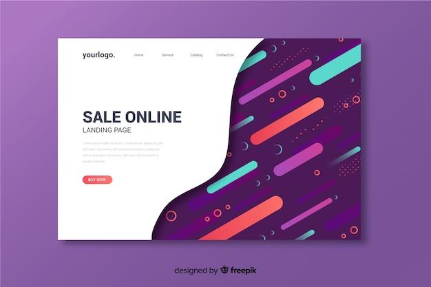 Página de destino abstrata on-line de produtos de venda