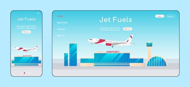 Página de destino adaptável a combustíveis para jatos