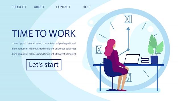 Página de destino anuncia gerenciamento de tempo produtivo