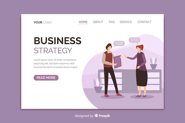 Página de destino brilhante de estratégia de negócios