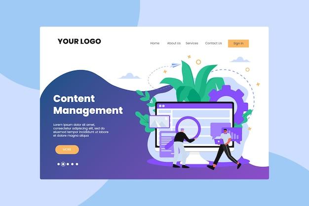 Página de destino cms de design plano