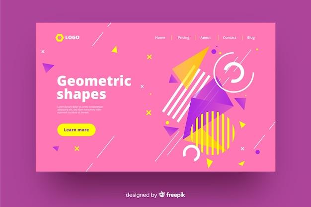 Página de destino colorida com aspectos geométricos