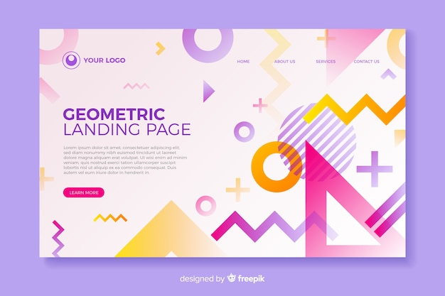 Página de destino colorida com formas geométricas