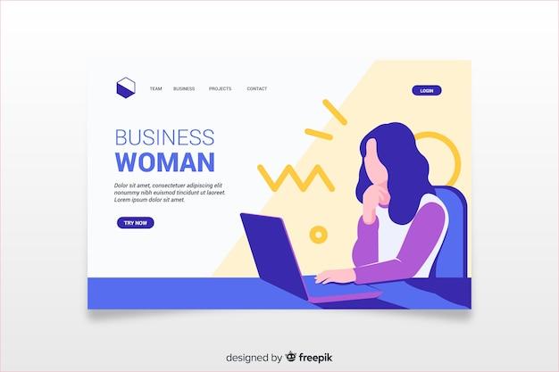 Página de destino colorida com ilustração de mulher de negócios
