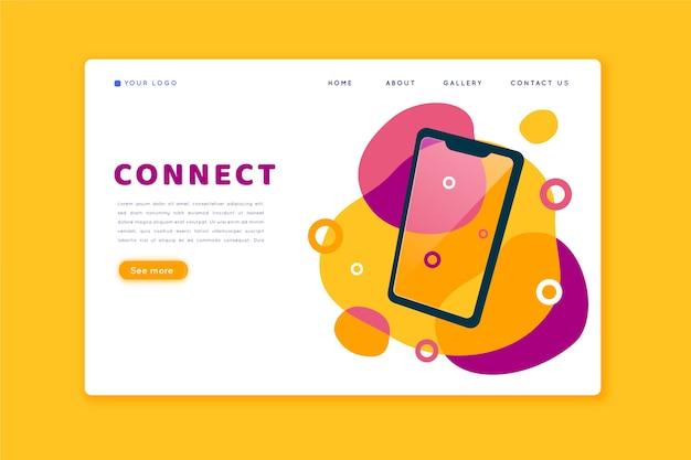 Página de destino colorida com smartphone