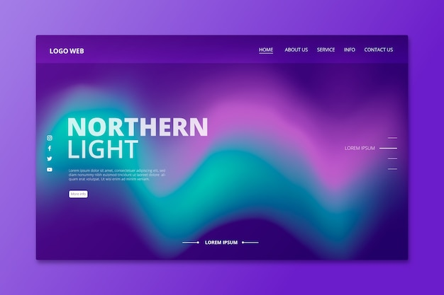 Página de destino colorida da aurora boreal