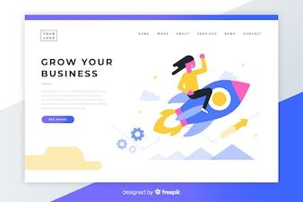 Página de destino colorida de negócios