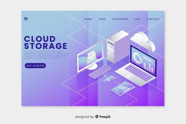 Página de destino com armazenamento na nuvem