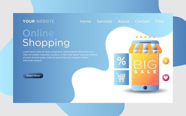 Página de destino com compras on-line
