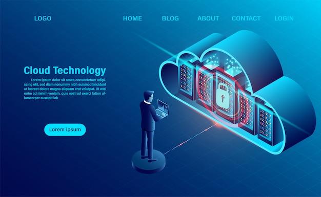 Página de destino com conceito de computação em nuvem. conceito de segurança de dados. tecnologia de computação online. conceito de processamento grande do fluxo de dados, servidores 3d e datacenter.