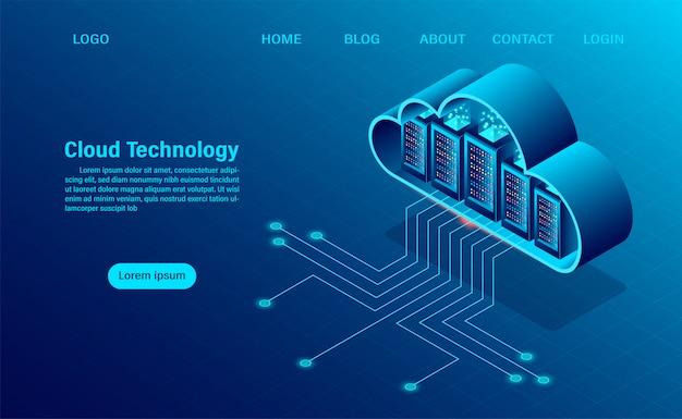 Página de destino com conceito de computação em nuvem. tecnologia de computação online. conceito de processamento grande do fluxo de dados, servidores 3d e datacenter. design plano isométrico