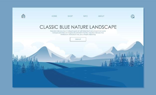 Página de destino. com cores azuis clássicas na moda. bela paisagem natural