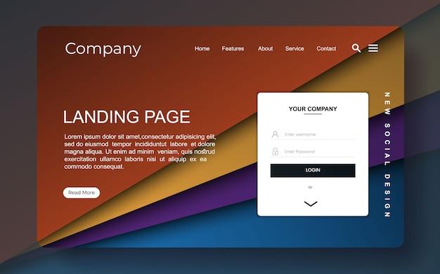 Página de destino com design abstrato