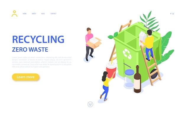 Página de destino com desperdício zero. as pessoas recolhem, separam e reciclam diferentes tipos de resíduos.