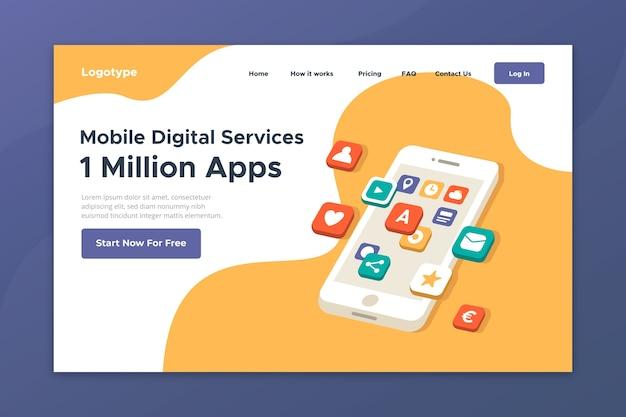 Página de destino com dispositivo móvel