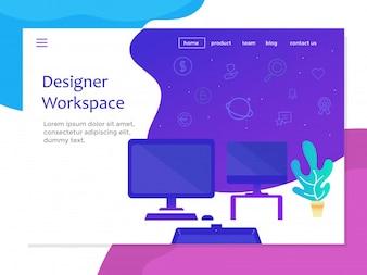 Página de destino com espaço de trabalho de designer