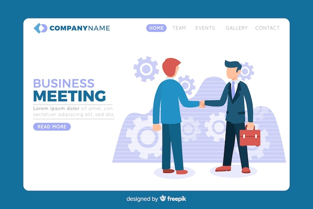 Página de destino com estratégia de negócios