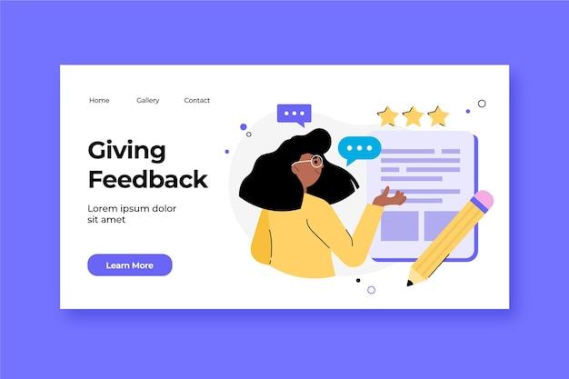 Página de destino com feedback plano