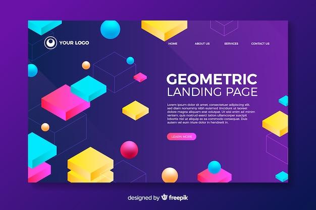 Página de destino com formas geométricas 3d