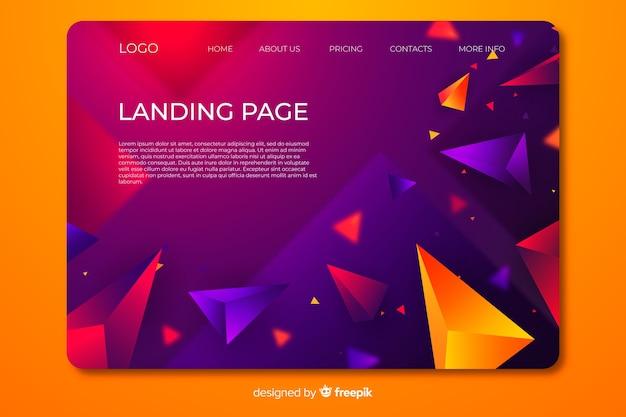 Página de destino com formas geométricas em 3d