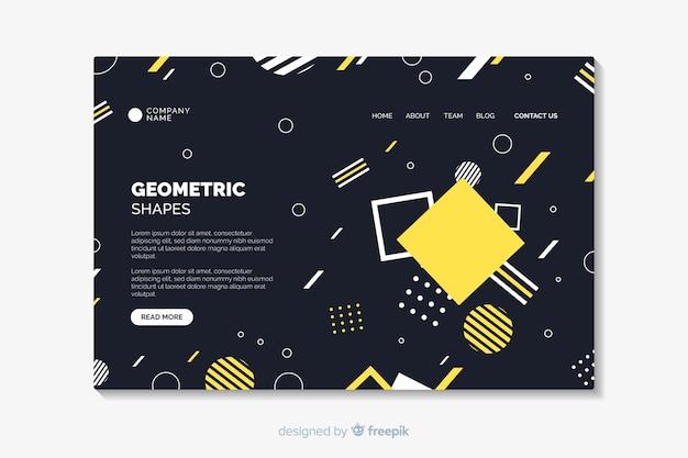 Página de destino com formas geométricas
