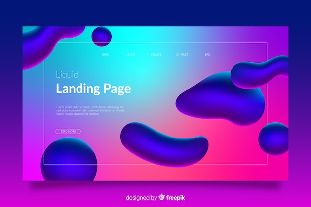 Página de destino com formas líquidas coloridas