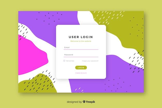 Página de destino com formulário de login